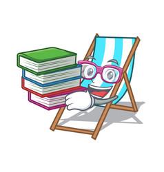 Student with book beach chair mascot cartoon vector