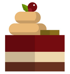 Sweet chocolate glazed cake with cherry isolated vector