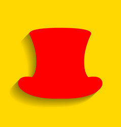 top hat sign red icon with soft shadow on vector image
