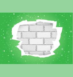 Torn green wallpapers brick wall vector