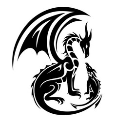 Two dragons tattoo vector
