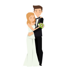 two young married couple hugging each other in vector image