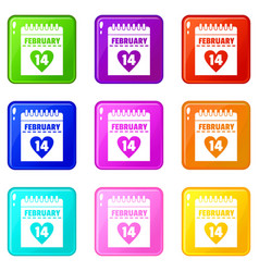 Valentines day calendar icons 9 set vector