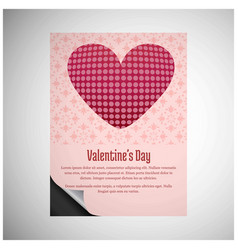 valentines day card with hearts and pink pattern vector image