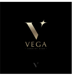 Vega star astronomy logo gold letter v vector