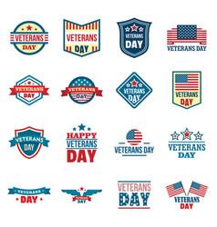 Veterans logo set flat style vector