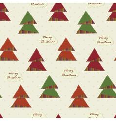 vintage Christmas seamless with Christmas Trees vector image