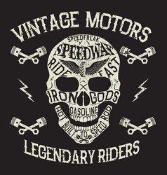 Vintage motors emblem with skull vector