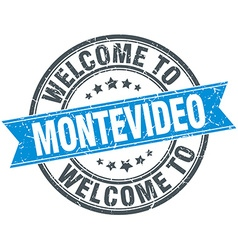 Welcome to Montevideo blue round vintage stamp vector