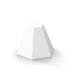 White frustum hexagonal pyramid vector