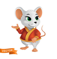 white rat or mouse in red bathrobe or cape vector image