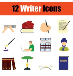 Writer icon set vector image