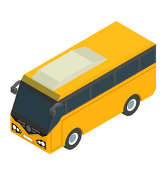 Yellow isometric bus for carrying passengers vector