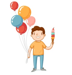A boy with balloons and ice cream vector image vector image