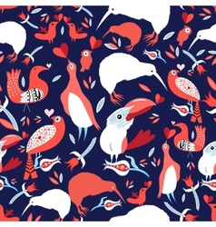 Bright floral pattern with birds vector image