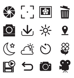 camera and menu icons with white background vector image