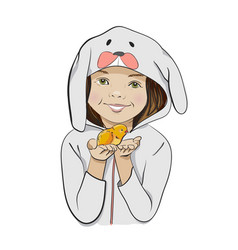 Happy Easter cartoon with girl and chick vector image vector image