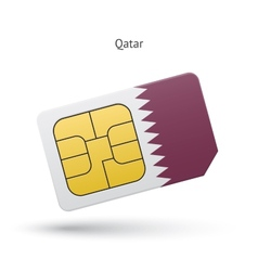 Qatar mobile phone sim card with flag vector image vector image