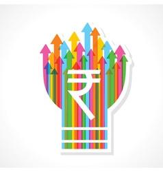 Rupee symbol on colorful arrow bulb vector image vector image