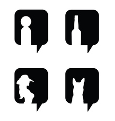 speech bubble in black with icon set vector image
