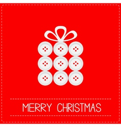 Gift box made from buttons Christmas vector image