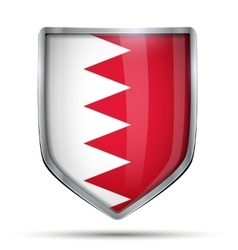 Shield with flag Bahrain vector image