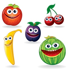 Funny Fruits Cartoons vector image vector image