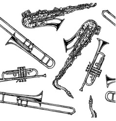 pattern with woodwind and brass musical instrument vector image vector image