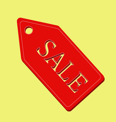 red sale label on yellow background vector image