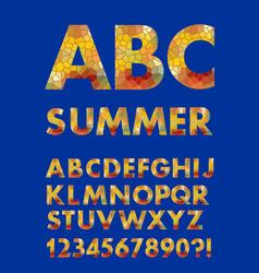 alphabet in summer colors mosaic texture design vector image