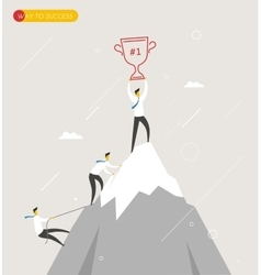 Businessman climbs the mountain cup in hand vector image vector image