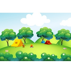 Camping tents at the top of the hill vector image vector image