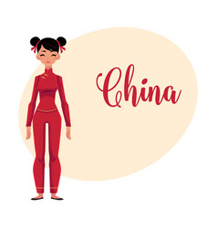 Chinese woman in national costume red tunic and vector