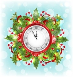 Clock with Christmas Holiday Decoration vector image