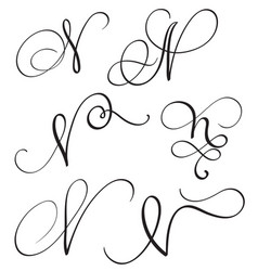 set of art calligraphy letter n with flourish of vector image vector image