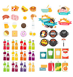 set of food icons template in modern flat style vector image