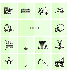 14 field icons vector