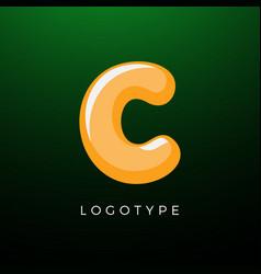 3d playful letter c kids and joy style symbol vector