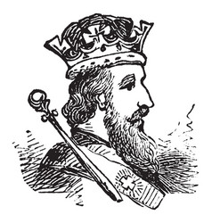 a adult male king with crown vintage engraving vector image