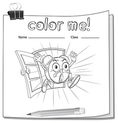 A color me worksheet with a clock vector image