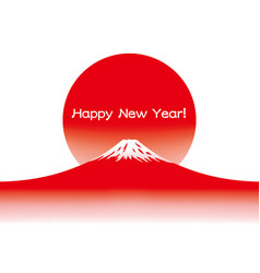 a new years card with red mount fuji vector image