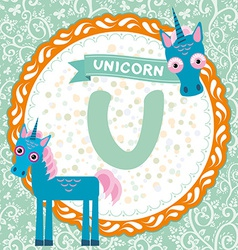 ABC animals U is unicorn Childrens english vector image