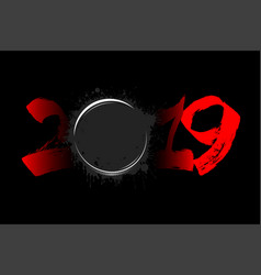 Abstract number 2019 and a hockey puck from blots vector