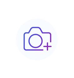 Add photo line icon with camera vector