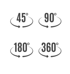 Angle degrees icons design Arrows rotation circle vector