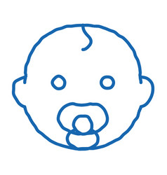 Baby child head doodle icon hand drawn vector