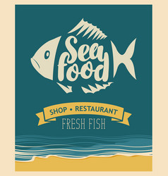 Banner for seafood restaurant or shop with fish vector