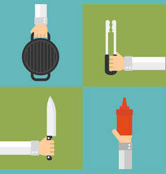 Barbecue and grill concept design flat set vector