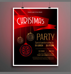 beautiful christmas red party flyer template with vector image