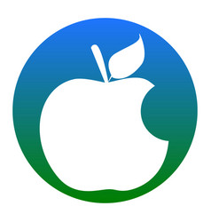 Bite apple sign white icon in bluish vector